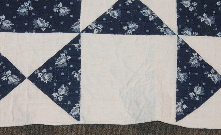 American Antique Quilt, Mid-19th Century Blue Resist Eight Point Stars For Sale