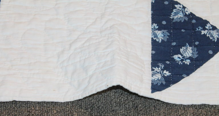 Hand-Crafted Antique Quilt, Mid-19th Century Blue Resist Eight Point Stars For Sale