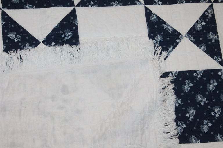 Cotton Antique Quilt, Mid-19th Century Blue Resist Eight Point Stars For Sale