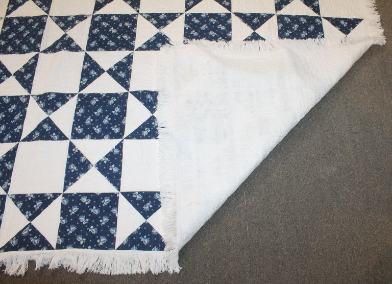 Antique Quilt, Mid-19th Century Blue Resist Eight Point Stars For Sale 1