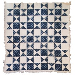 Antique Quilt, Mid-19th Century Blue Resist Eight Point Stars