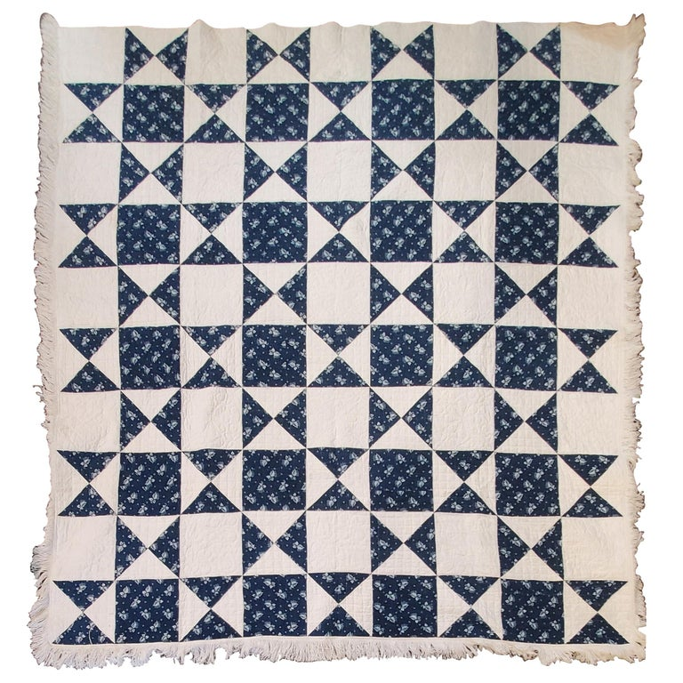 Antique Quilt, Mid-19th Century Blue Resist Eight Point Stars For Sale