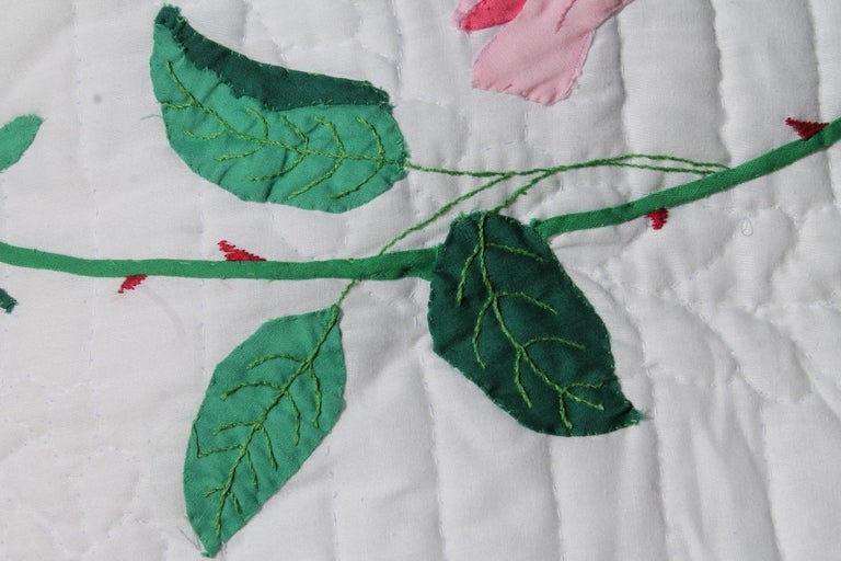 Antique quilt midcentury rose applique quilt for sale at 1stdibs
