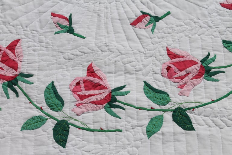 Hand-Crafted Antique Quilt, Midcentury Rose Applique Quilt For Sale