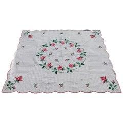 Antique Quilt, Midcentury Rose Applique Quilt