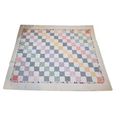 Antique Quilt, Mini Postage Stamp Quilt Dated 1930s