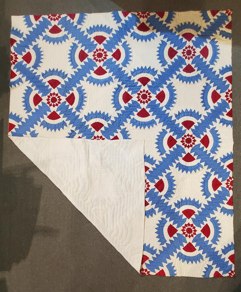 This New York beauty quilt is from Virginia and is in fine unwashed condition. This patriotic and graphic quilt has wonderful piecework and in great condition.
