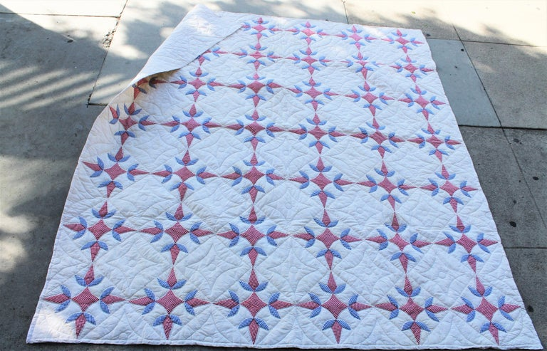 Country Antique Quilt -Patriotic Geometric Red, White and Blue For Sale