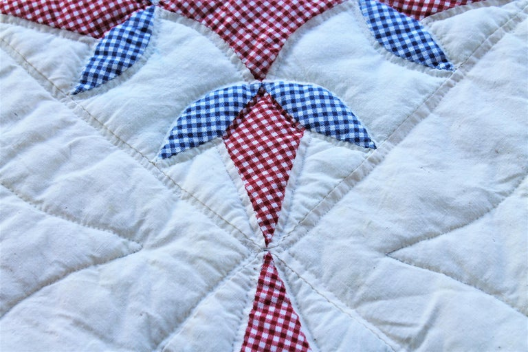 American Antique Quilt -Patriotic Geometric Red, White and Blue For Sale