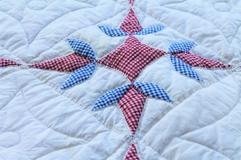 Hand-Crafted Antique Quilt -Patriotic Geometric Red, White and Blue For Sale