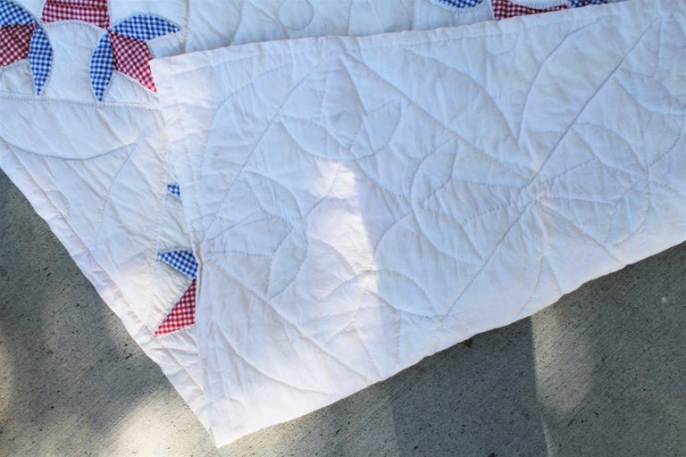 20th Century Antique Quilt -Patriotic Geometric Red, White and Blue For Sale
