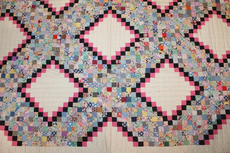Country Antique Quilt Postage Stamp Chain For Sale