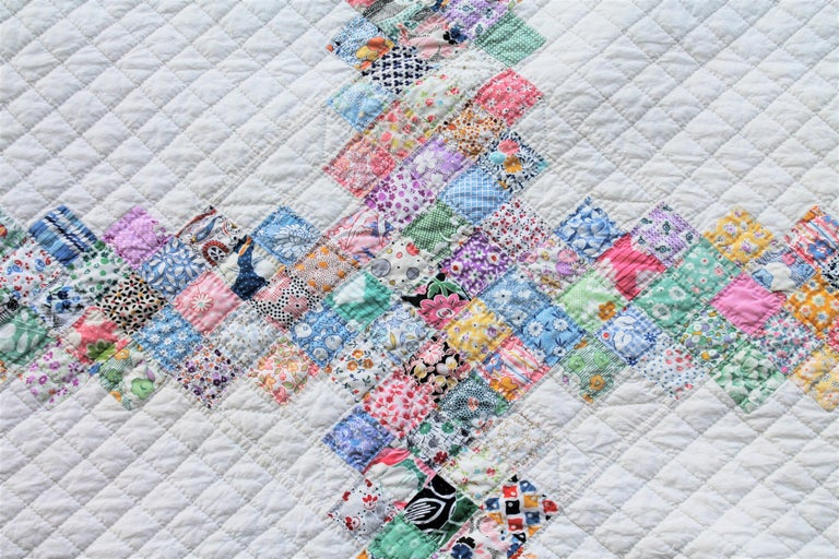 Hand-Crafted Antique Quilt Postage Stamp Chain For Sale