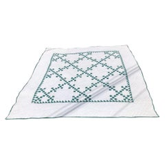 Antique Quilt Postage Stamp Chain Quilt in Green and White