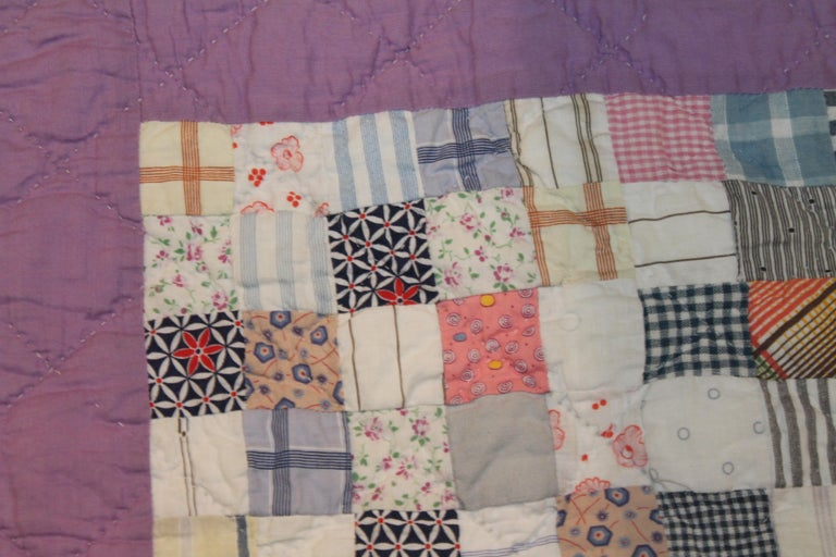 Hand-Crafted Antique Quilt Postage Stamp Quilt For Sale