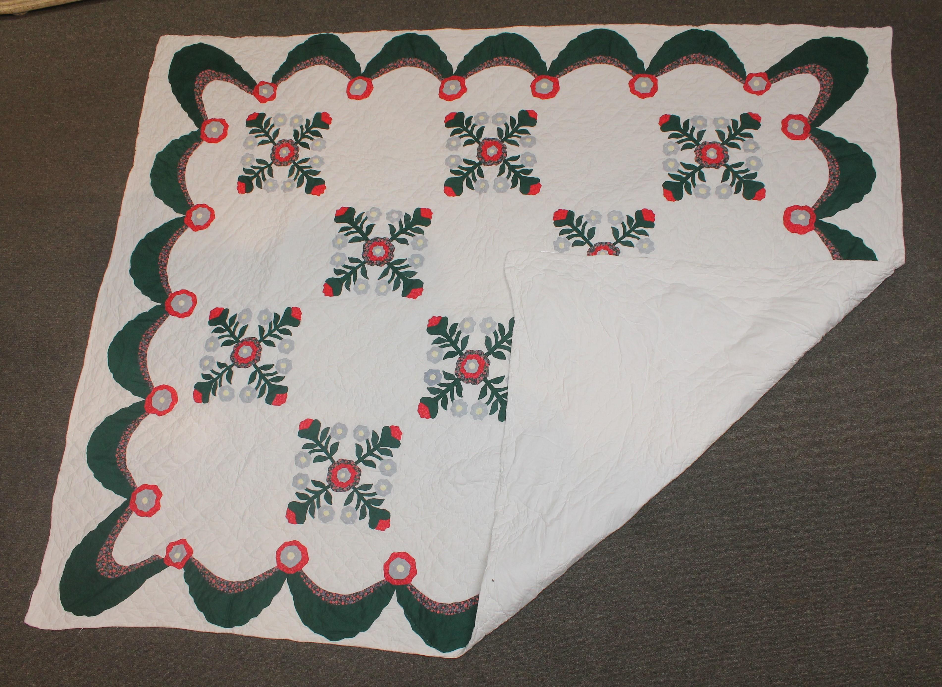 Four patch heart mini quilt
