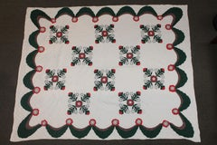 Antique  Quilt Red & Green Applique