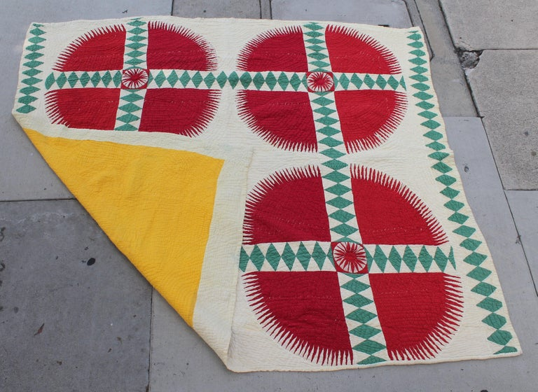 This fantastic southern quilt is a New York Beauty pattern and was found in Virginia. The pristine and vibrant red and green would make a fantastic Christmas gift or for your wall at Xmas time. This comes from a wonderful folk art collection out of