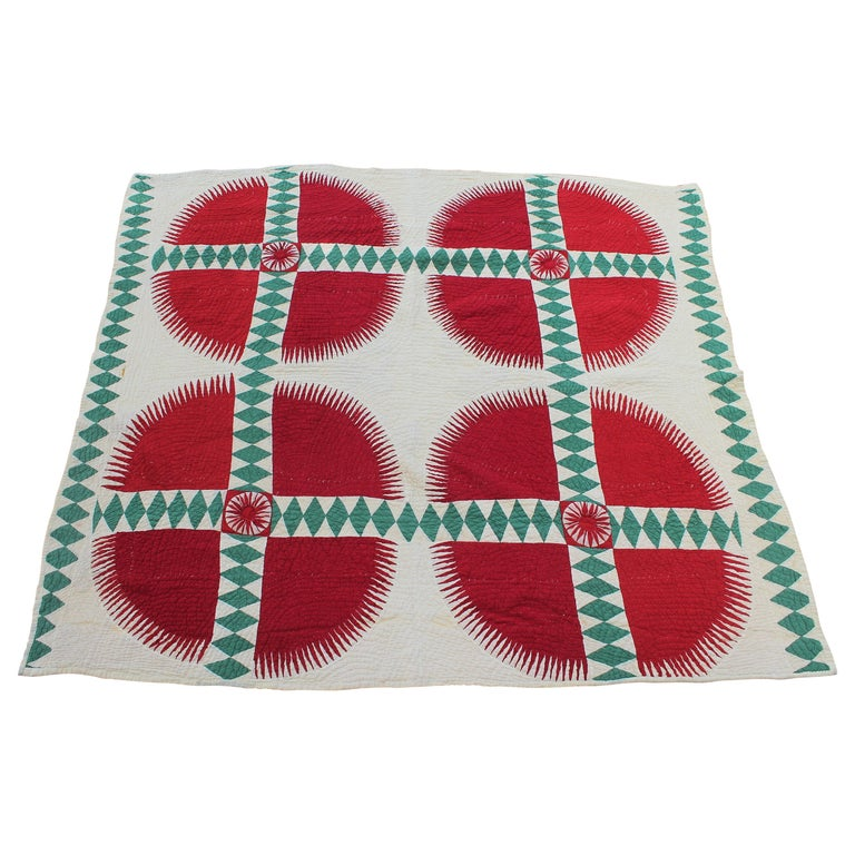 Antique Quilt Red and Green New York Beauty For Sale