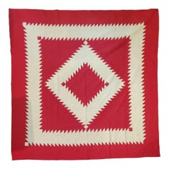 Antique Quilt Red and White Saw Tooth Diamond