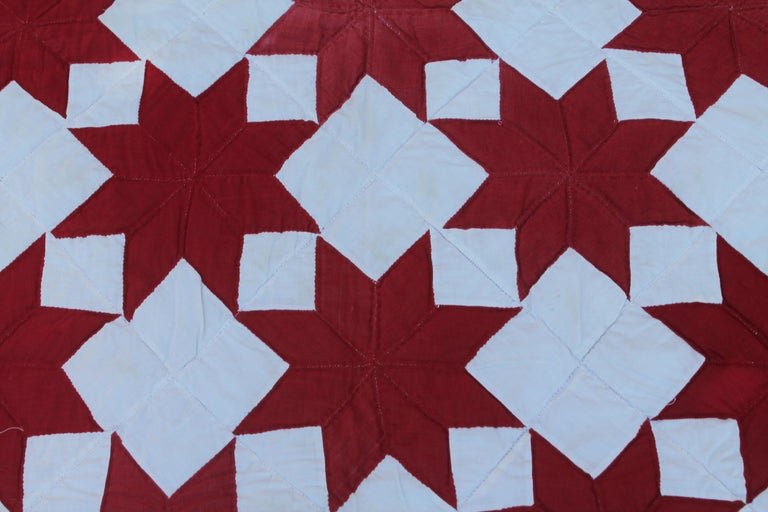 Country Antique Quilt Red & White Stars For Sale