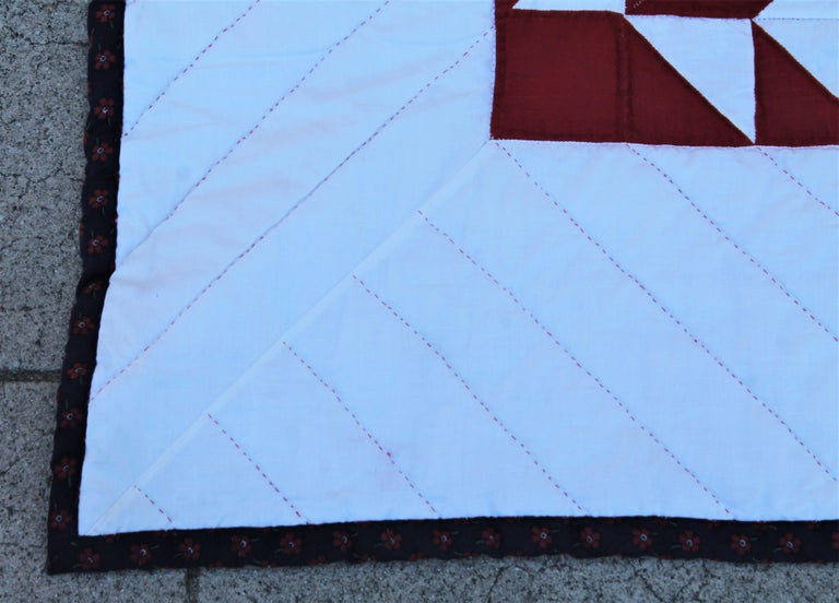 Hand-Crafted Antique Quilt Red & White Stars For Sale