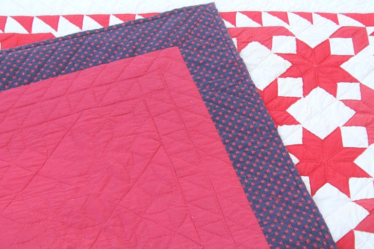 20th Century Antique Quilt Red & White Stars For Sale