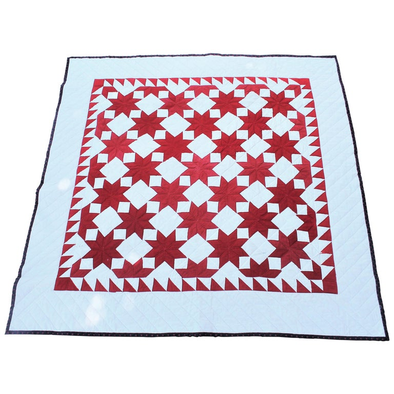 Antique Quilt Red & White Stars For Sale