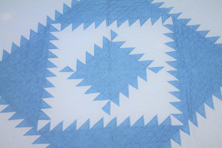 American Antique Quilt-Saw Tooth Diamond in a Square Quilt For Sale