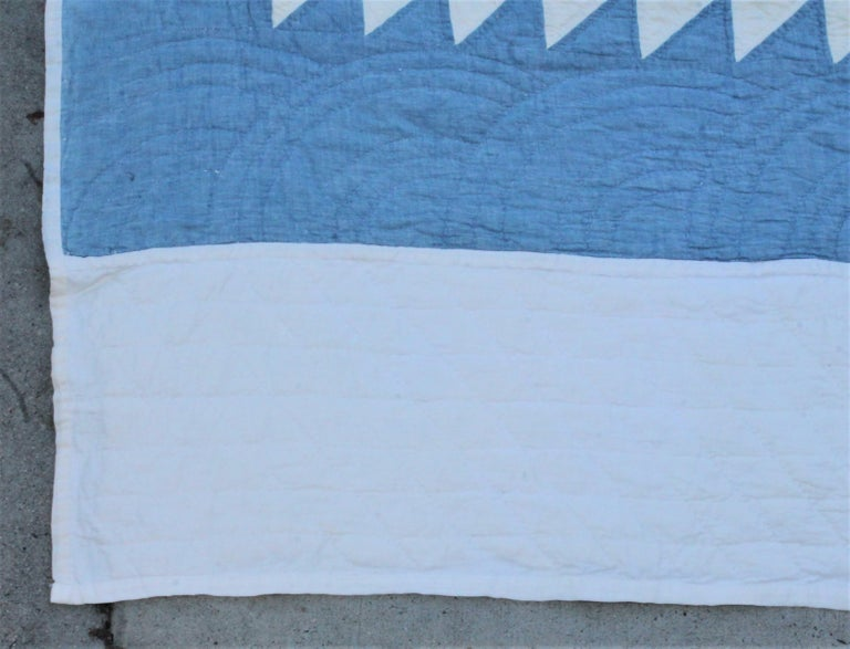 Cotton Antique Quilt-Saw Tooth Diamond in a Square Quilt For Sale