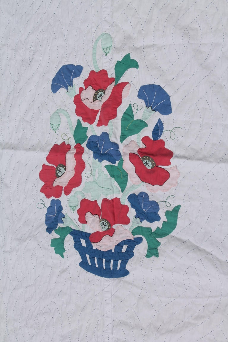 American Antique Quilt Summer Floral Applique For Sale