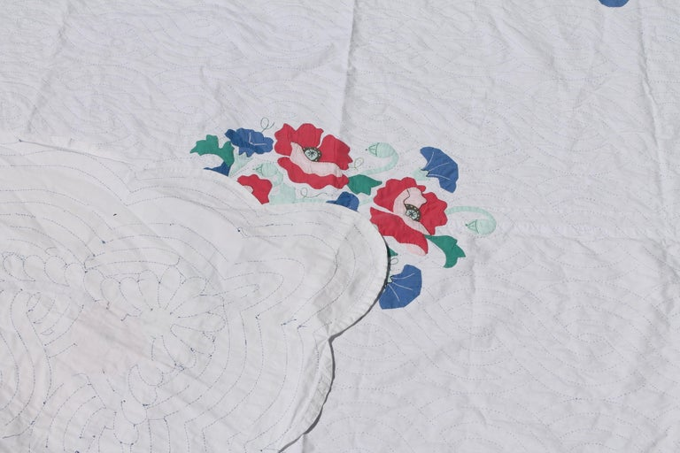 Cotton Antique Quilt Summer Floral Applique For Sale