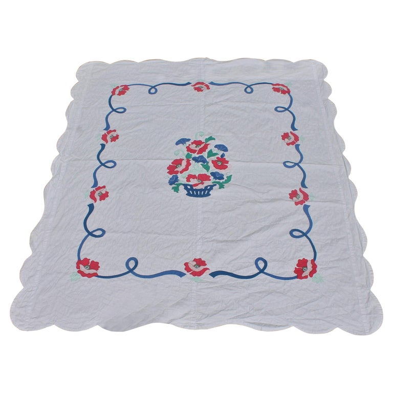Antique Quilt Summer Floral Applique For Sale