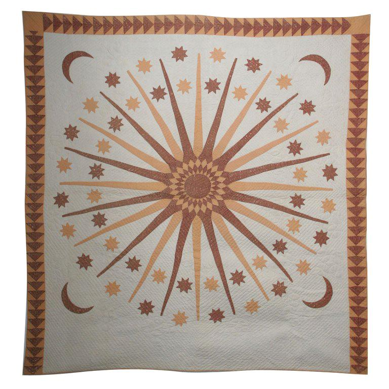 Antique Quilt:  Sun, Moon and Stars. For Sale