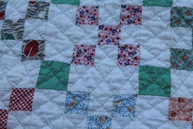 American Antique Quilt-Tiny Pieced Postage Stamp Chain For Sale
