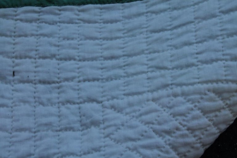 Cotton Antique Quilt-Tiny Pieced Postage Stamp Chain For Sale