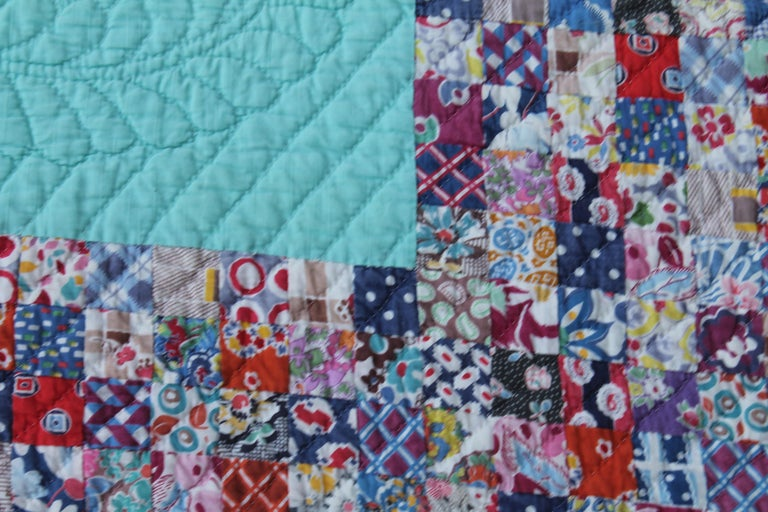 Country Antique Quilt, Tiny Pieces Postage Stamp Trip Around the World For Sale
