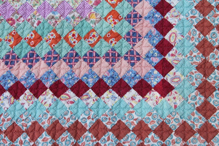 American Antique Quilt, Tiny Pieces Postage Stamp Trip Around the World For Sale