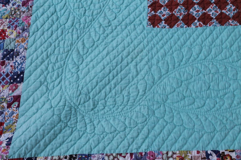 Hand-Crafted Antique Quilt, Tiny Pieces Postage Stamp Trip Around the World For Sale