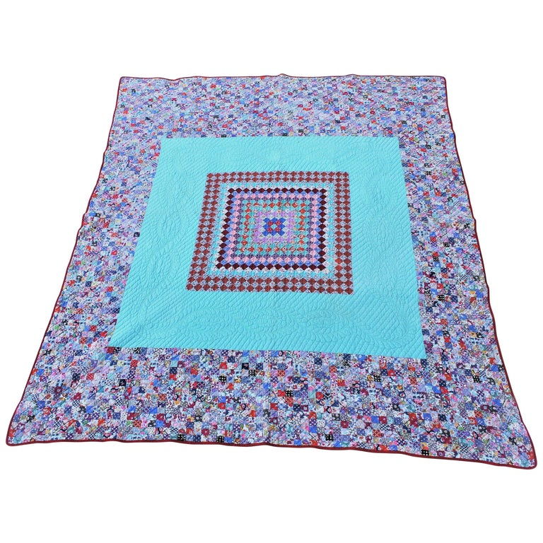 Antique Quilt, Tiny Pieces Postage Stamp Trip Around the World For Sale