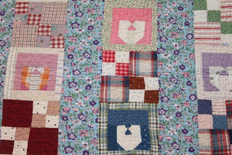 Hand-Crafted Antique Quilt with the Letter