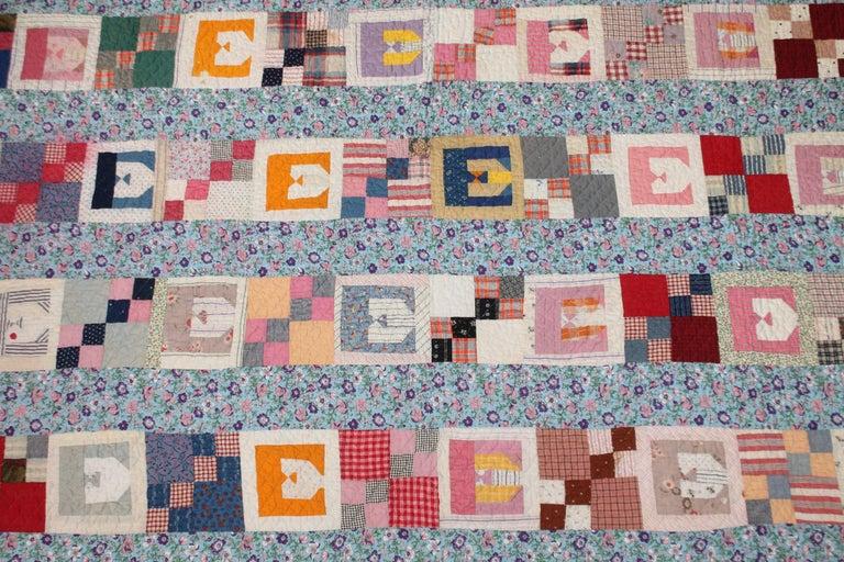 Cotton Antique Quilt with the Letter