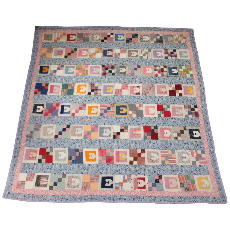 """Antique Quilt with the Letter """"E"""" For Sale"""