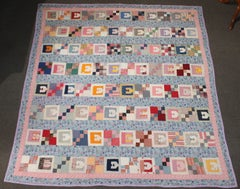 "Antique Quilt With The Letter  ""E '"