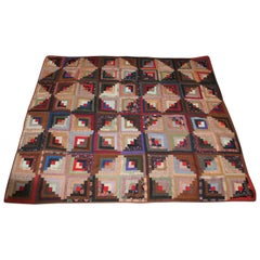Antique Quilt, Wool Challis Log Cabin Quilt
