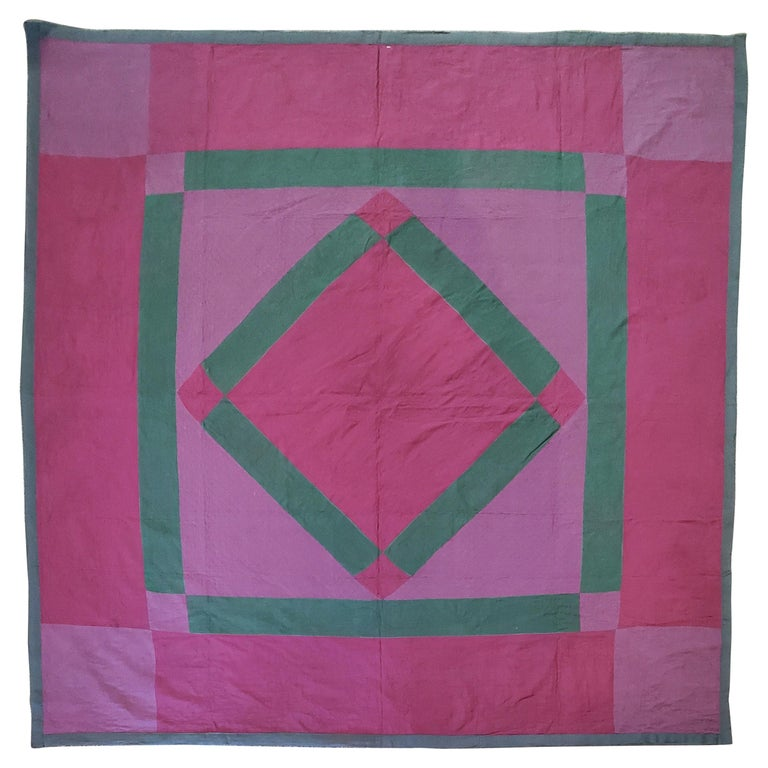 Antique Quilt Wool Lancaster Co., Pa Amish Diamond in a Square