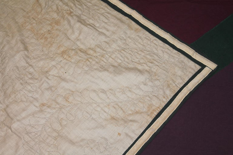 Antique Quilt Wool Lancaster Co., Pa Amish Diamond in a Square 4