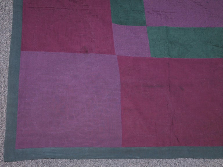 Folk Art Antique Quilt Wool Lancaster Co., Pa Amish Diamond in a Square