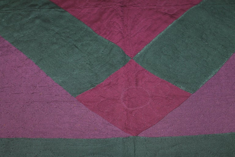 American Antique Quilt Wool Lancaster Co., Pa Amish Diamond in a Square