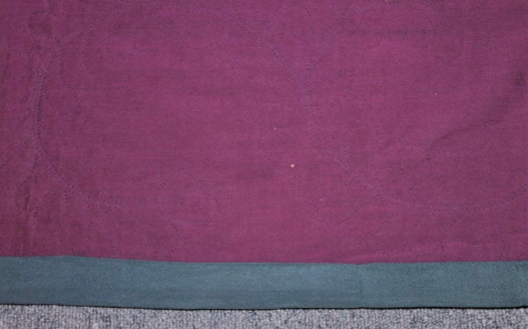 Antique Quilt Wool Lancaster Co., Pa Amish Diamond in a Square In Good Condition In Los Angeles, CA